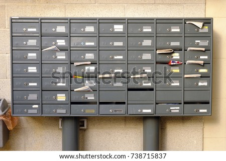 metal mailboxes in an apartment building