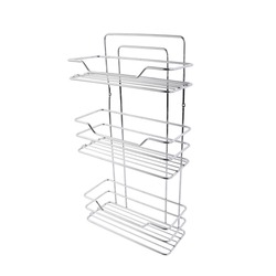 Metal mesh rack with shelves, Isolated on white.