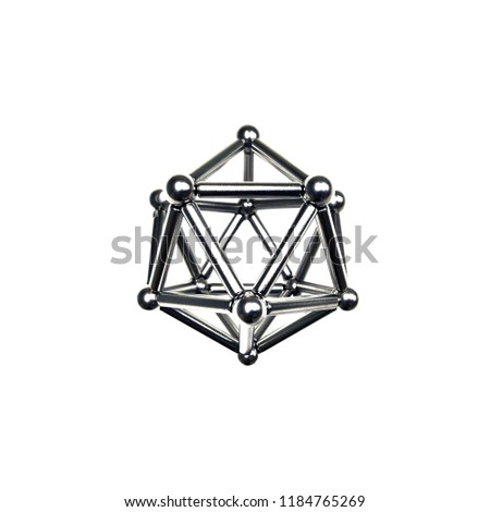 metal molecule structure on white background with a soft shadow.The symbol of connection. A molecule or a net. #1184765269
