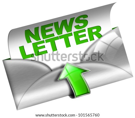 Metal Newsletter Web Concept / Newsletter marketing concept on white background