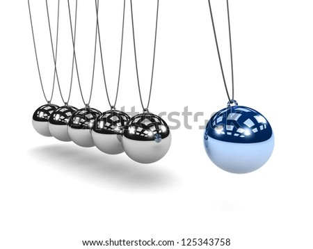 Metal Newton's cradle isolated on white background. Balancing balls Newton's cradle. 3D render. Concept business