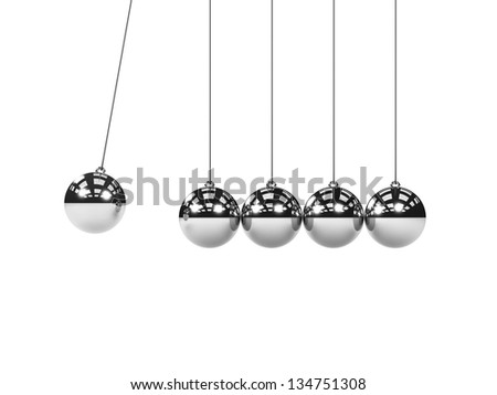 Metal Newton's cradle with one red ball isolated on white background. Balancing balls Newton's cradle. 3D render. Concept business - stock photo