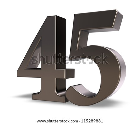 metal number forty five on white background - 3d illustration - stock photo