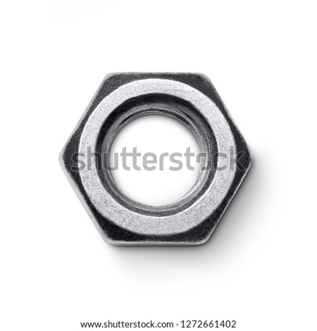 Metal nut isolated on white background