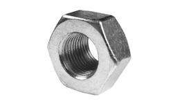 Metal nut isolated on white background. Chromed screw nut isolated. Steel nut isolated. Tools for work.