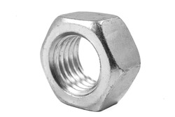 Metal nut with metric thread. Metal accessories for assembling metal parts. Light background.