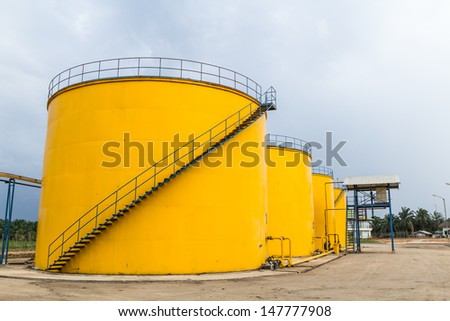 Metal oil tanks in Palm oil refinery plant, Thailand