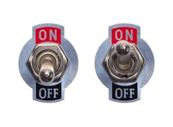 Metal On Off Switches Isolated on White Background.