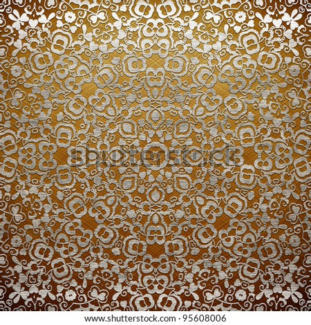 Metal ornament (gold and silver classic pattern) - stock photo