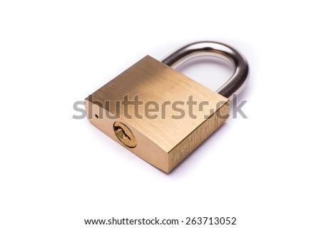 Metal padlock on white background #263713052