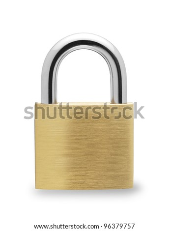 Metal padlock  on white background #96379757