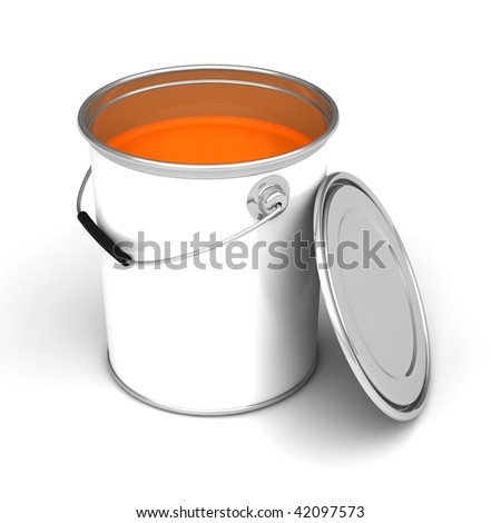 Metal paint can on a white background