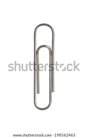 Metal paperclip isolated on white background.