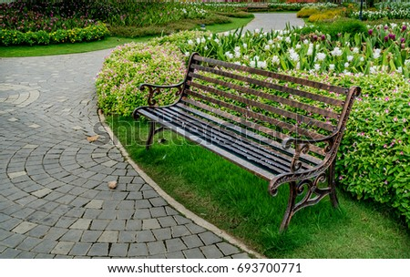 metal park bench in the park