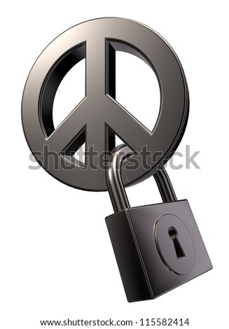 metal peace symbol and padlock on white background - 3d illustration