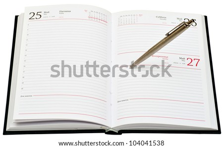 metal pen on opened diary isolated on white background - stock photo