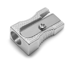 Metal Pencil Sharpener Isolated on White Background.
