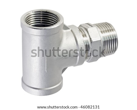 metal piece of pipe is isolated on a white background