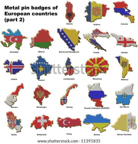 Metal pin badges in the shape of flag maps of all the non member countries of the european union