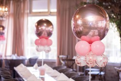 metal pink ballons birthday decoration