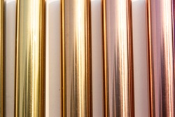 Metal pipe color set , shiny metal cylinder pipe , glossy stick color gold,rose gold, copper background