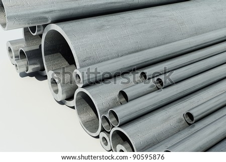 Metal pipe on a white background.