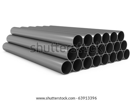 Metal Pipes isolated on white - 3d illustration