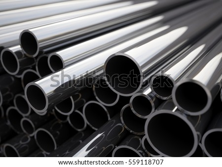 Metal pipes of various diameters