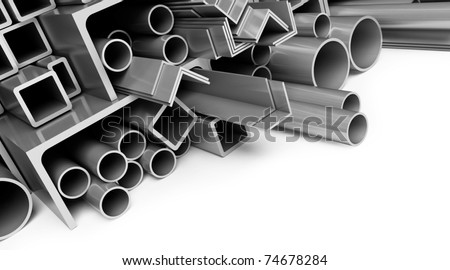 metal pipes on white background