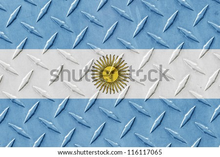Metal place surface with the flag of Argentina