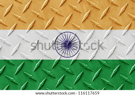 Metal place surface with the flag of India