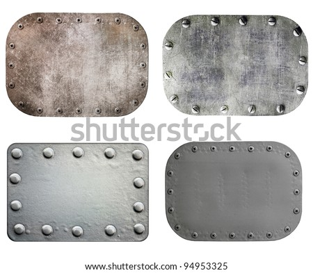 Metal plate isolated on white background, set