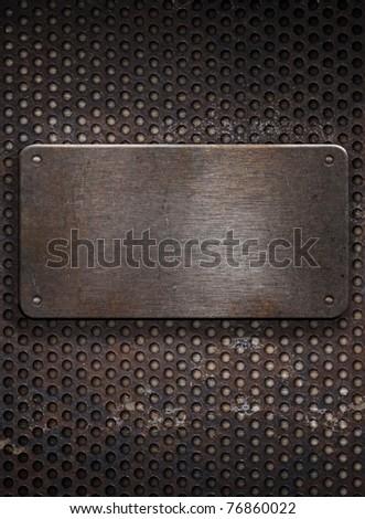 metal plate on  grid background