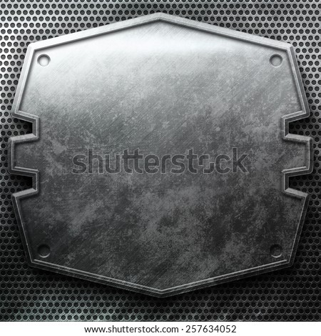 Metal plate on grid. Industrial construction