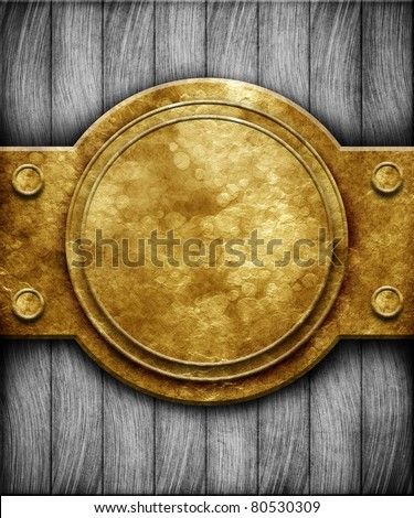 Metal plate on wooden planks