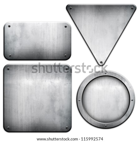 metal plate set (isolated with clipping path)