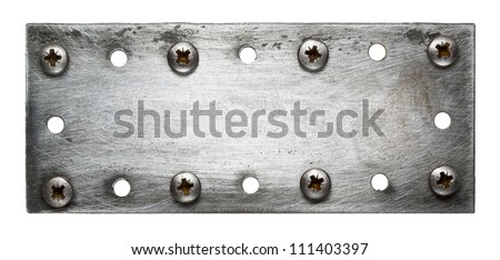 Metal plate texture with screws.
