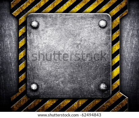 metal plate with warning stripe
