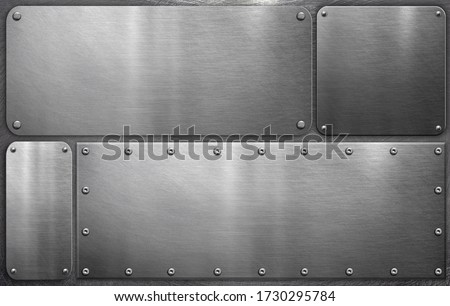 Metal plates on steel background, grunge background Foto stock ©