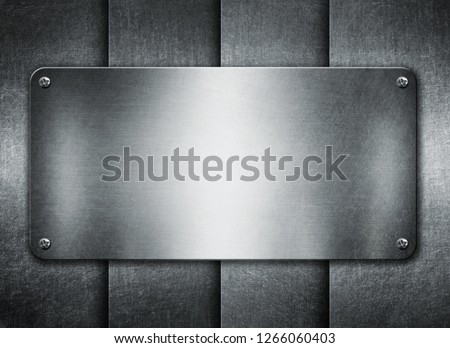 Metal plates with rivets on steel background 3D illustration