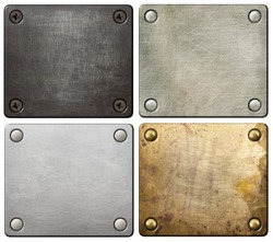 Metal plates with screws and rivets.