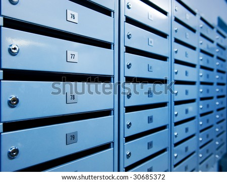 Metal postboxes (toned in blue)