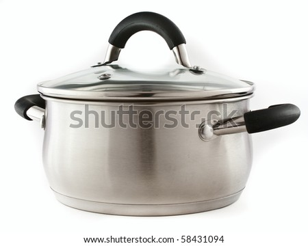 metal pot with glass lid on a white background