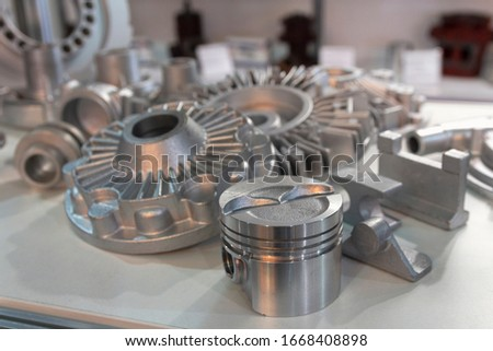 Metal products made by casting techniques closeup. Industry Foto stock ©