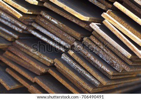 Metal profile strip in packs at the warehouse of metal products, Russia #706490491