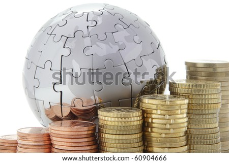 Metal puzzle globe with euro coins on white background