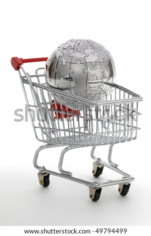 Metal puzzle globe with shopping cart, isolated on white background