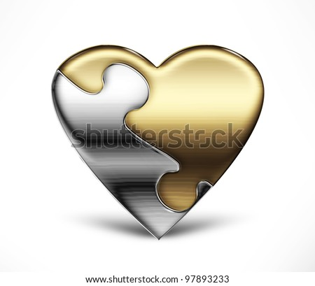 Metal puzzle heart from two parts on a light background