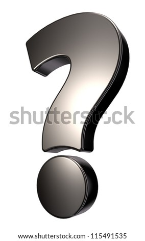 metal question mark on white background - 3d illustration - stock photo