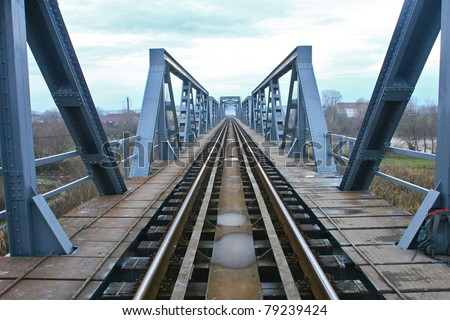 Metal rail road bridge